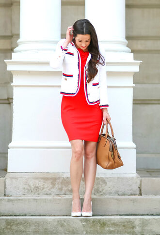 diary of a debutante blogger dress jacket shoes bag make-up pumps high heel pumps red dress handbag fall outfits