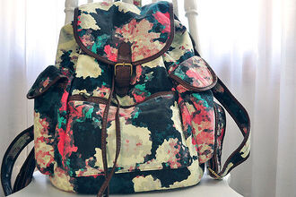 bag pink flowers backpack floral floral backpack blue fashion school bag