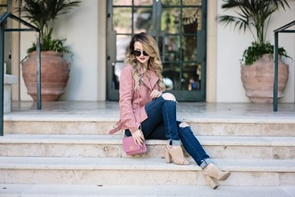 kiss me darling blogger jacket blouse jeans shoes sunglasses jewels pink jacket peep toe boots pink bag nude boots