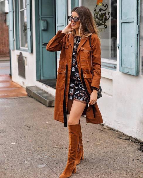 coat tumblr brown coat suede suede coat dress mini dress boots suede boots brown boots knee high boots sunglasses