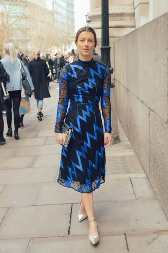 dress london fashion week 2017 fashion week 2017 fashion week streetstyle midi dress blue dress long sleeves long sleeve dress shoes silver metallic metallic shoes silver shoes bag metallic clutch clutch