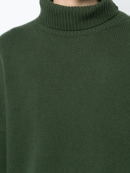 jumper women turtle wool green sweater