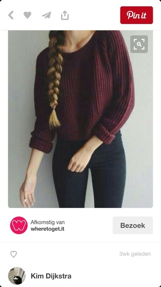 sweater burgundy warm winter outfits fall outfits red cute beautiful girl shirt