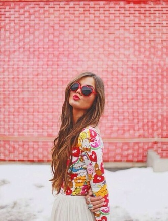 pink girly sunglasses tumblr sunglasses heart sunglasses red pink sunglasses love heart heart shape retro