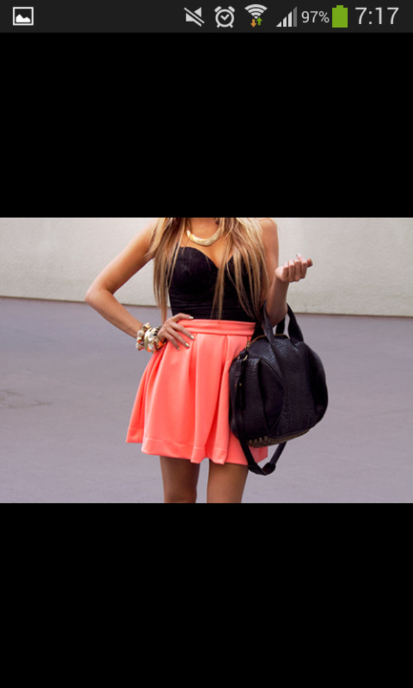 dress short orange black beautiful bag skirt