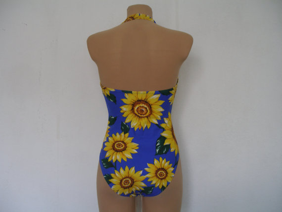 SWIMSUIT / SWIMWEAR Vintage / Size EUR 38 / One Piece / Sunflower Pattern / Neon / Ultramarine / Yellow