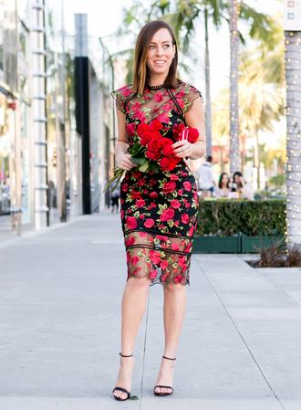 sydne summer's fashion reviews & style tips blogger dress jewels bag shoes floral dress sandals high heel sandals