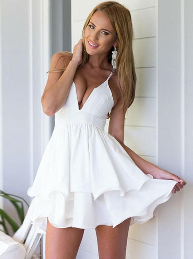 A-Line Deep V-Neck Short Ivory Chiffon Sleeveless Homecoming Dress with Ruffles