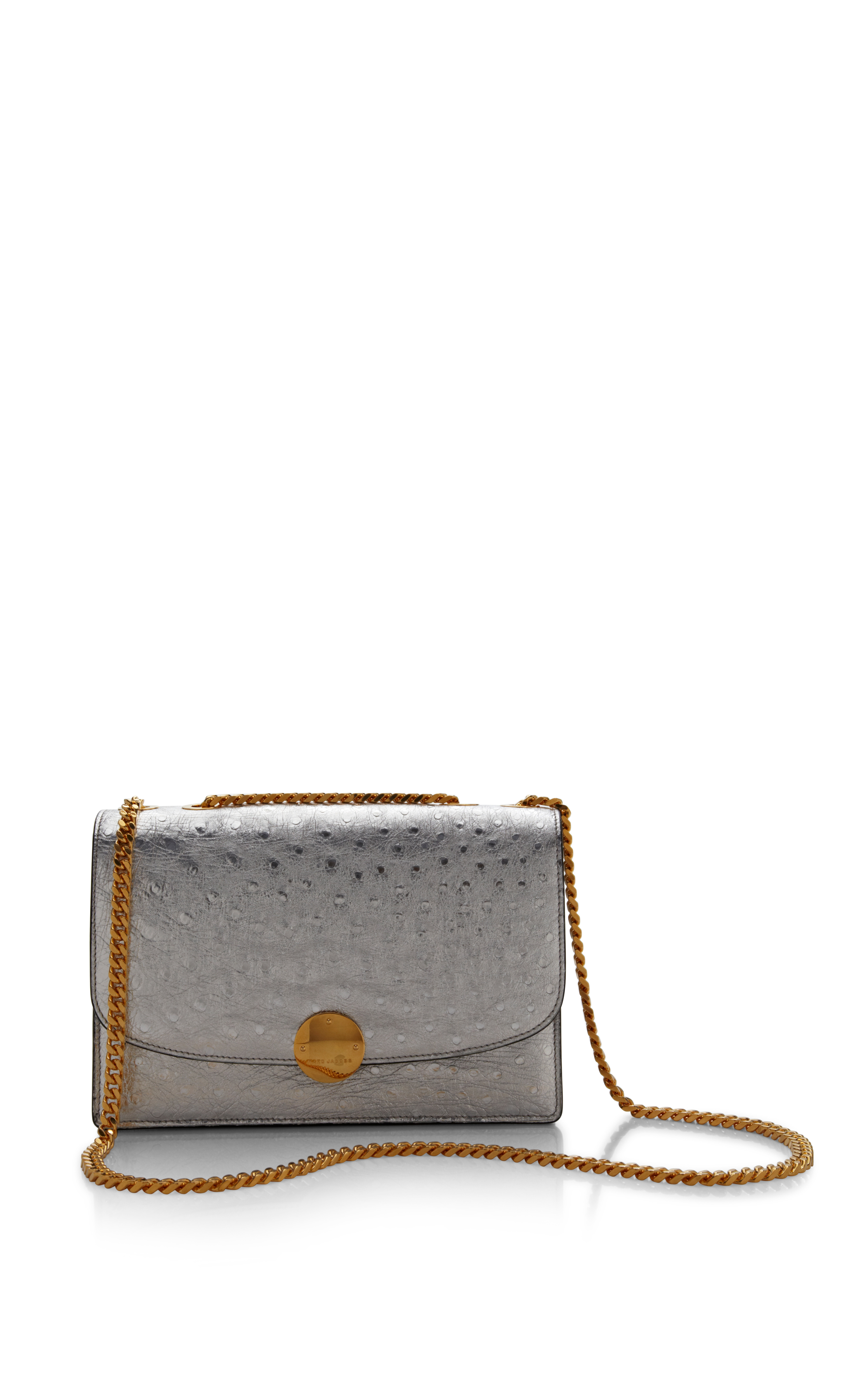 Ostrich Trouble Bag In Silver by Marc Jacobs - Moda Operandi