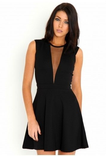 Missguided Skater Dress With Mesh Plunge Neckline , In Black, size 8 BNWT | eBay