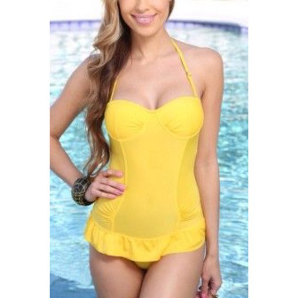 swimwear yellow swimwear one piece swimsuit