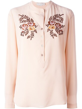shirt embroidered purple pink top