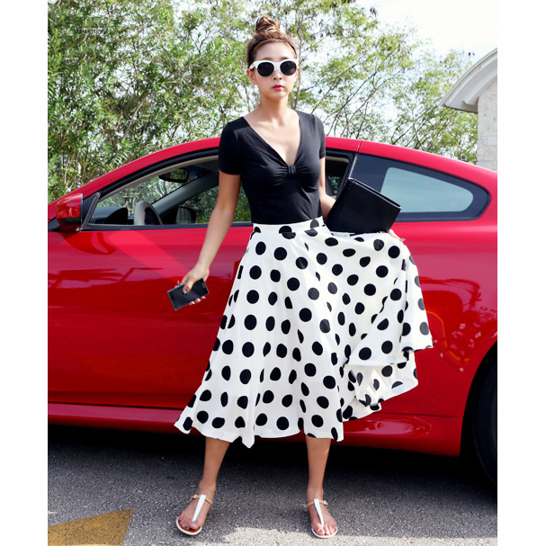 2014 new arrival polka dot chiffon long skirt sweet cute umbrella skirt for ladies Black White -inSkirts from Apparel & Accessories on Aliexpress.com