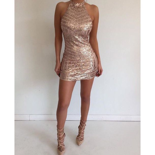 Pink Sequin Dress Tight