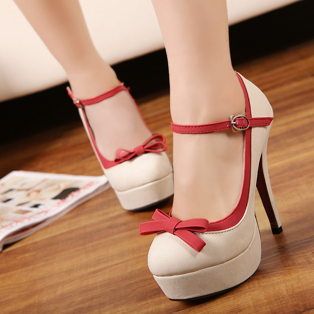 2013 women's shoes sweet bow princess high heeled shoes round toe single shoes t belt spring and autumn thin heels-inPumps from Shoes on Aliexpress.com
