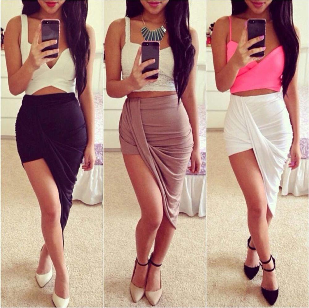 Asymmetrical High Waisted Stretch Bodycon Low Mini Maxi Skirts New EVM