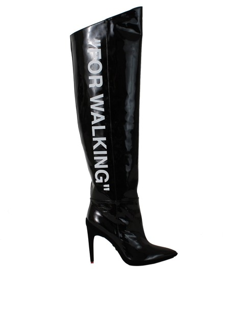 Off-White patent boots black shoes