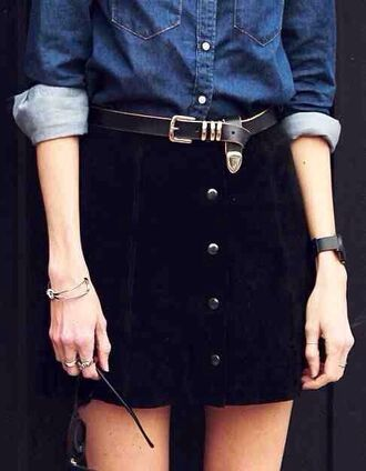 skirt black button down line a line a line skirt retro 90s style grunge goth pastel cute cool tumblr teenagers urban vintage denim belt spring summer fall outfits winter outfits