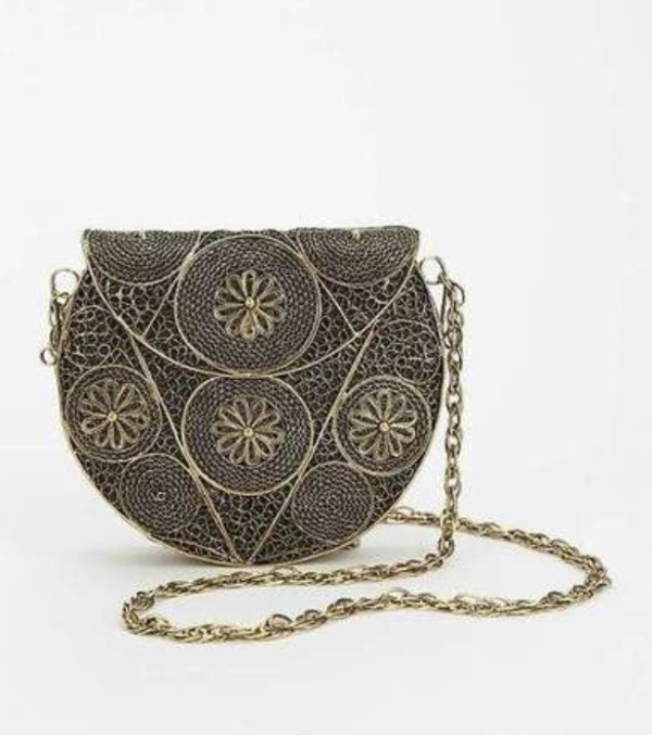 bag metal purse floral pattern