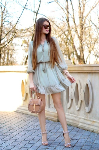 only my fashion style blogger dress bag shoes spring outfits blue dress sandals high heel sandals mini dress