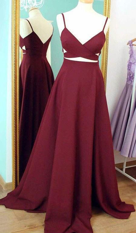 A-line V-neck Silk-like Satin Sweep Train Ruffles Sexy Prom Dresses - dressesofgirl.com