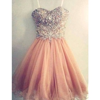 dress short pink prom dress short dress pink dress sweetheart prom dress bridesmaid color beautiful dress ball gown pink salmon jewels sparkle tool glitter rose dress prom pastel pink vintage diamonds pretty dress formal dress fancy dress