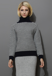 sweater,grey,polo neck,cable knit