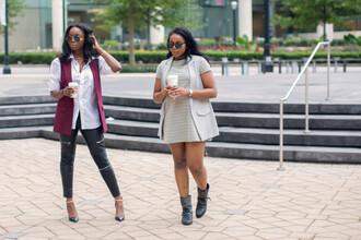 millennielle blogger jacket pants shoes shirt sunglasses