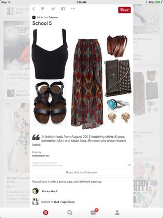 skirt maxi skirt shirt shoes jewels bag