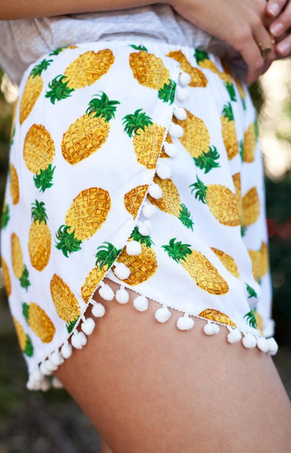 shorts pineapple print pineapple shorts pretty summer cute cute shorts