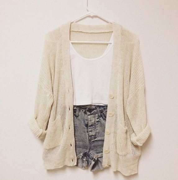 pockets sweater cream cardigan jacket jumper button rolled up sleeves oversized