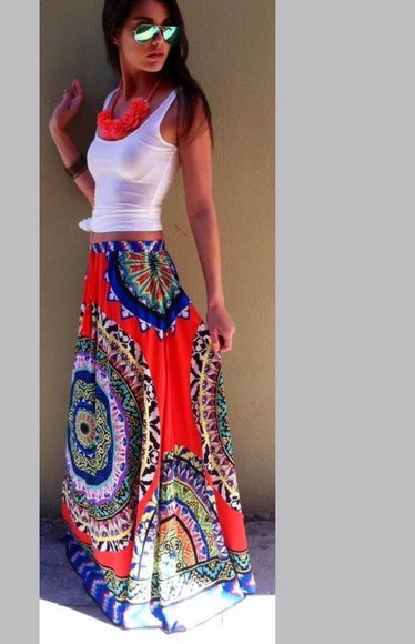 skirt maxi skirt aztec pattern red colorful jewels