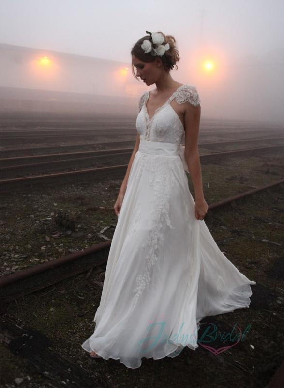 2016 Boho Wedding Dresses V Neck A Line Appliques Cap Sleeves Romantic Outdoors Cheap Deep Bridal Gowns With Bow Sashes Online