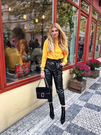 pants tumblr black pants leather pants cropped pants sweater yellow yellow sweater boots black boots ankle boots bag black bag