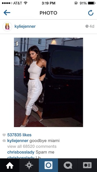pants kylie jenner shoes shirt white crop tops white keeping up with the kardashians