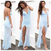 dress,light blue,lace dress,floral,spaghetti strap