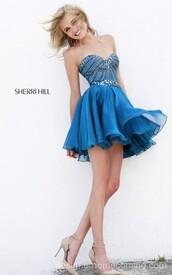 sherri hill 1930,homecoming dress royal,beads sweetheart dress