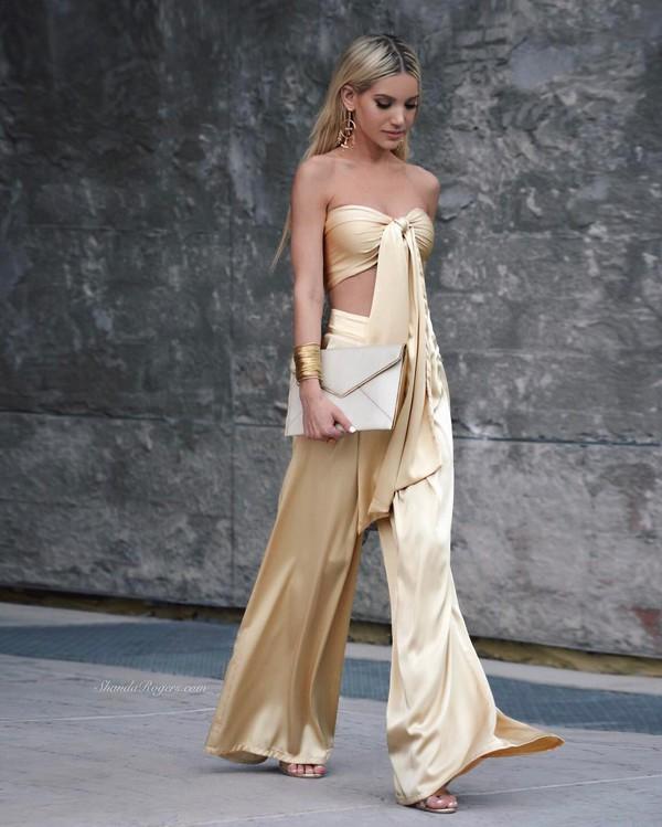 Pants: gold top, tumblr, gold, gold pants, metallic, tube top ...
