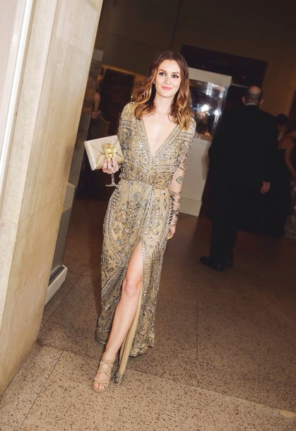 dress leighton meester gossip girl gold sequin dress prom dress dress embroidered couture dress slit dress gold sequins plunge v neck sequins