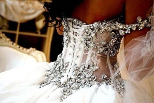 Dress wedding white diamonds jewls jeweled dress for White sparkly wedding dress