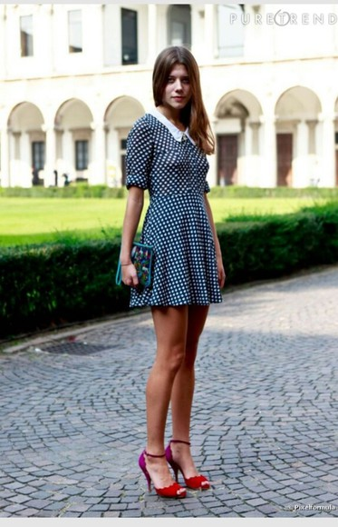 col claudine white dress blue cute pois manches courtes