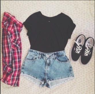 shoes black shirt denim shorts black and white shoes plaid button up