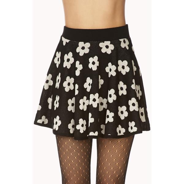 FOREVER 21 Retro Daisy Skater Skirt - Polyvore