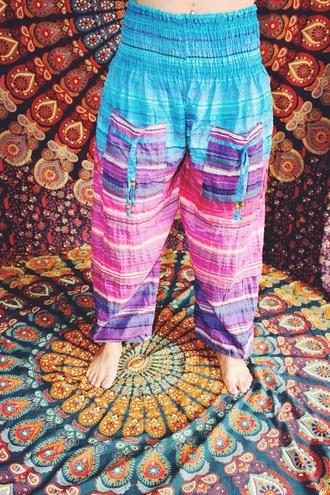 pants harem pants boho chic bohemian gypsy ombre bleach dye ombre high waisted shorts hippie style fashion summer pants