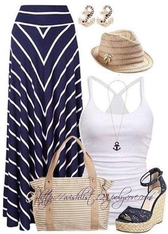 skirt striped skirt maxi skirt