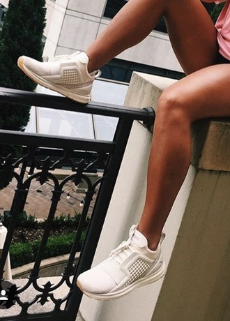 shoes sneakers tennis shoes running shoes workout cute white tan