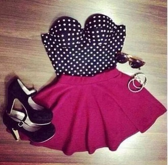skirt hot pink skirt hot pink skater skirt hot pink skater skirt top poka dot top black and white top poka dots black with white pika dots