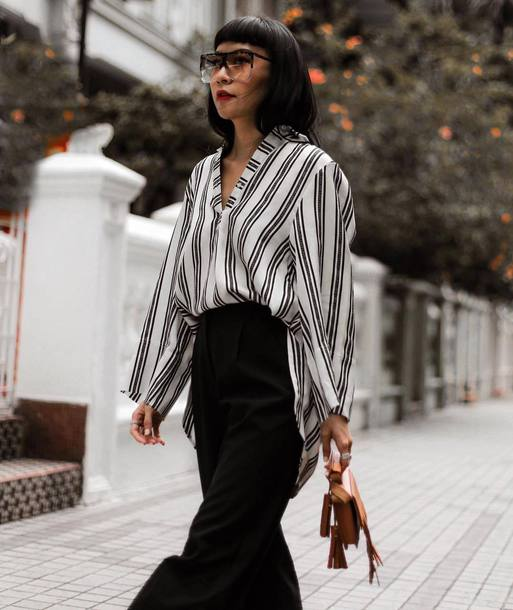 45e124e32614 shirt brown bag tumblr stripes striped shirt pants black pants black and  white wide-leg