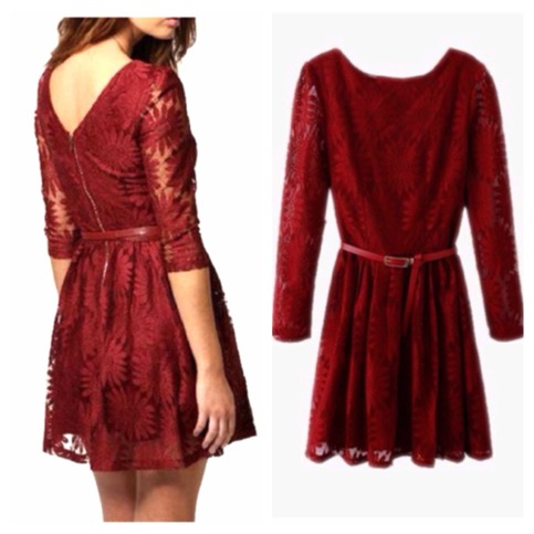 Stunning red sunflower lace belted dress