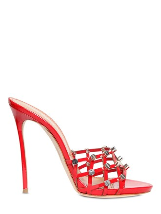 studded mules leather red shoes